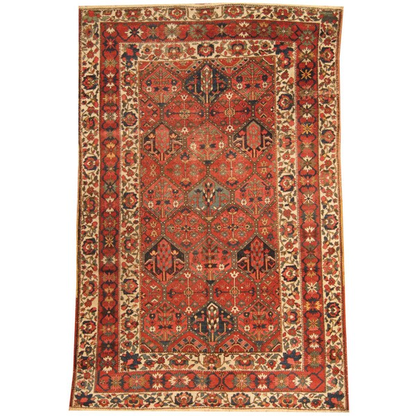 Handmade Herat Oriental Antique 1920's Persian Bakhtiari Wool Rug - 6'6 x 10'1 (Iran)