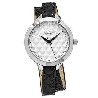 Stuhrling Original Women's Quartz Vogue Black Leather Stainless Steel Strap Watch