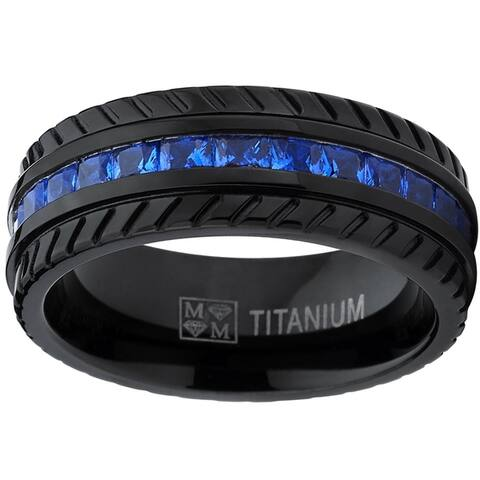 Oliveti Men's Black Titanium Faux Sapphire and Zirconia Eternity Ring