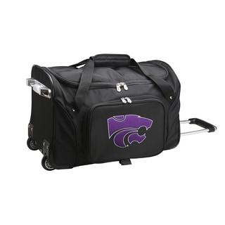 Denco Kansas State Black Ballistic Nylon 22-inch Carry-on Rolling Duffel Bag