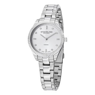 Stuhrling Original Women's Swiss Quartz Symphony Diamond Silver Stainless Steel Strap Watch