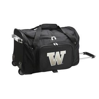 Denco Washington Black Ballistic Nylon 22-inch Carry On Rolling Duffel Bag