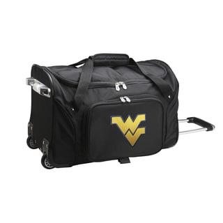 Denco West Virginia Black Nylon 22-inch Carry-on Rolling Duffel Bag