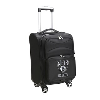 Denco Brooklyn Nets Black Nylon 20-inch Carry-on 8-wheel Spinner Suitcase