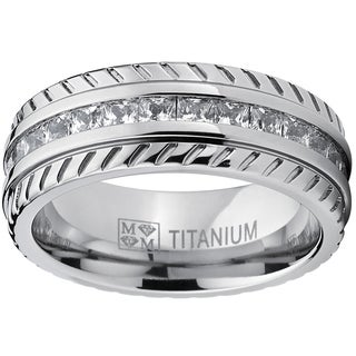 Oliveti Men's Titanium Princess-cut Cubic Zirconia 8mm Comfort Fit Band Eternity Ring