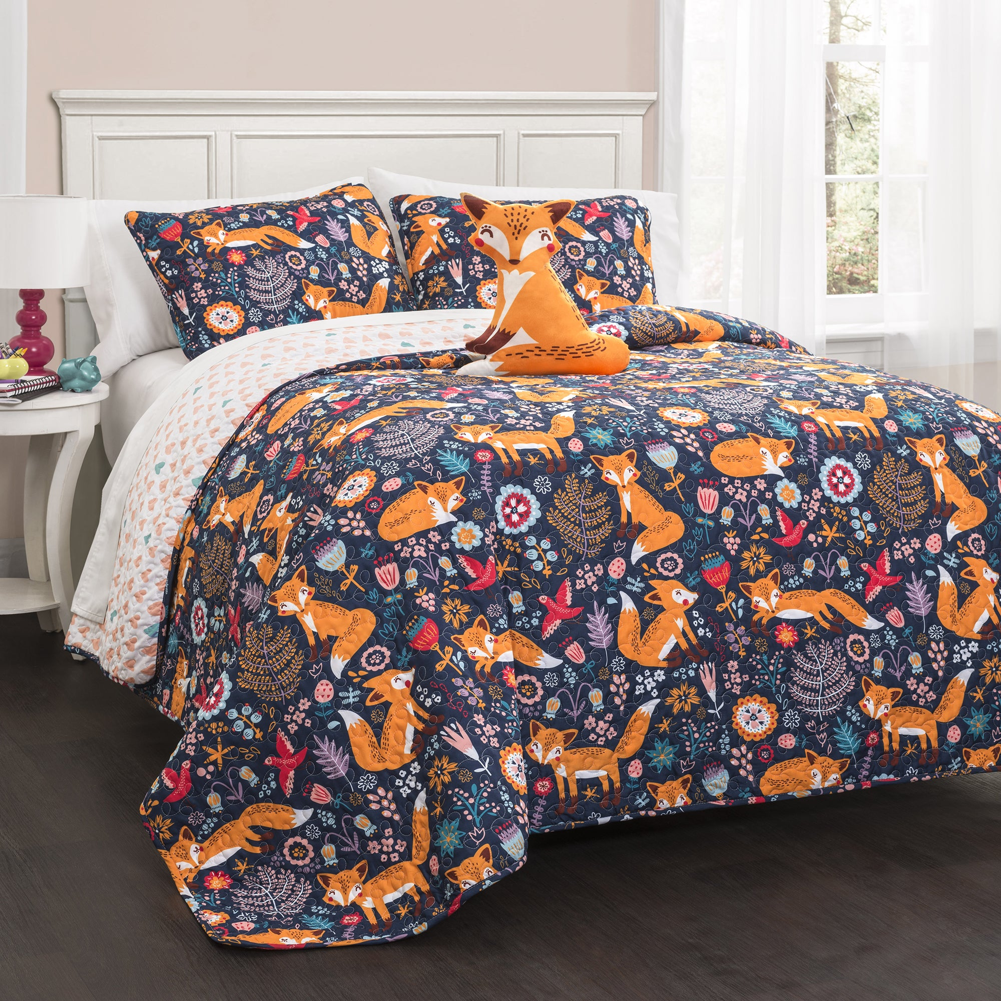 Lush Decor Pixie Fox 4-piece Quilt Set (Navy - 4 Piece - ...