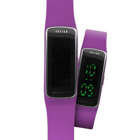 Dakota Fusion Kids Purple Silicone/Plastic Slim Hidden LED Watch