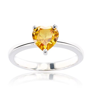 Sterling Silver Heart Swarovski Austrian Crystal Birthstone Ring
