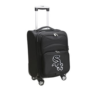 Denco Sports 'Chicago White Sox' Black Nylon and Fabric 20-inch Carry-on 8-wheel Spinner Suitcase