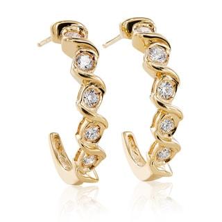 Chroma 10k Yellow Gold Swarovski Stone Hoop Earrings
