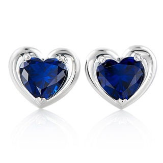 Sterling Silver Heart Swarovski Birthstone Earrings