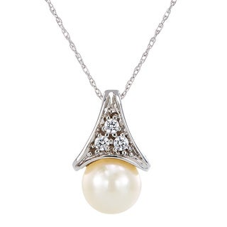 CHROMA 10k White Gold Pearl Swarovski Element Stone Necklace