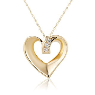 10k Yellow Gold Swarovski Element Stone Heart Necklace
