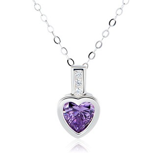 Sterling Silver Heart Swarovski Element Austrian Crystal Birthstone Necklace