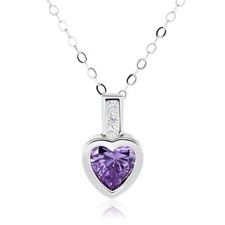 Sterling Silver Heart Swarovski Austrian Crystal Birthstone Necklace