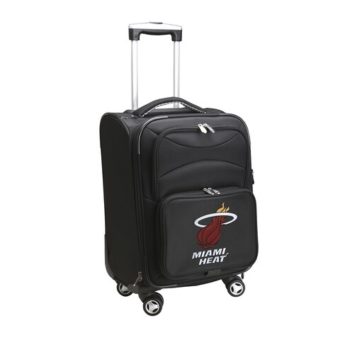 Denco Sports 'Miami Heat' Black Nylon and Fabric 20-inch Carry-on 8-wheel Spinner Suitcase