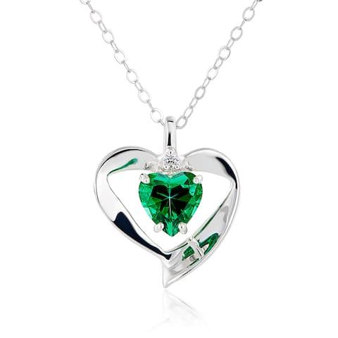 Sterling Silver Heart Swarovski Birthstone Necklace