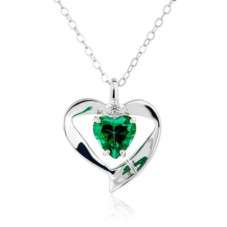 Sterling Silver Heart Swarovski Element Birthstone Necklace