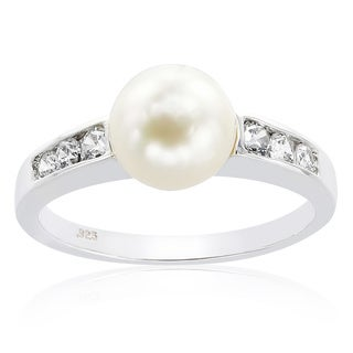 Chroma Sterling Silver Pearl and Swarovski Cubic Zirconia Ring - White