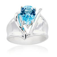 Sterling Silver V Design Pear Swiss Blue Topaz Ring