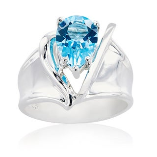 Sterling Silver V Design Pear Swiss Blue Topaz Ring