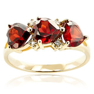 10k Yellow Gold Triple Heart Garnet Diamond Accent Ring (H-I, I1-I2)