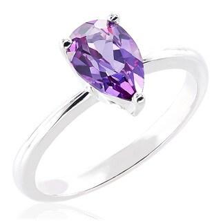 Sterling Silver Pear Swarovski Birthstone Ring