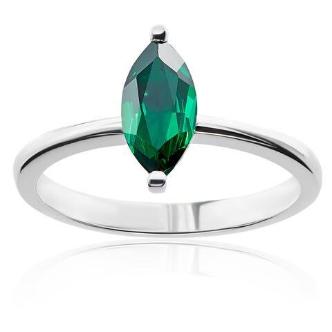Sterling Silver Marquise Swarovski Birthstone Ring