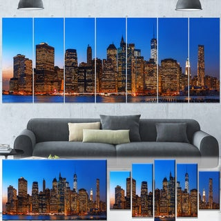 Designart 'Night New York City Panorama' Extra Large Cityscape Wall Art on Canvas