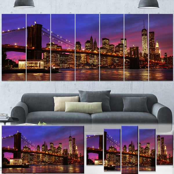 Designart New York City Skyline Panorama 5 Piece Wall: Designart 'Brooklyn Bridge And Manhattan At Sunset' Extra