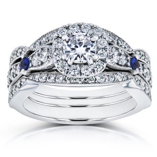 Annello by Kobelli 14k White Gold 1 1/3ct TGW Moissanite (HI) with Sapphire and Diamond Antique 3 Ring Bridal Set (GH, I1-I2)