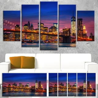 Designart 'Manhattan with Lights and Reflections' Extra Large Cityscape Wall Art on Canvas