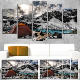 Designart 'Campsite above Turquoise Lake' Landscape Artwork Canvas Print