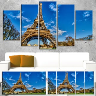 Designart 'Beautiful Winter Day in Paris' Extra Large Cityscape Wall Art on Canvas - Blue