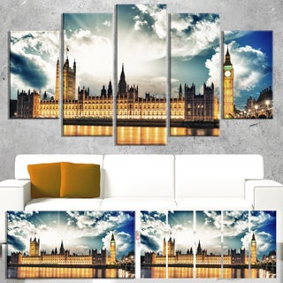 Designart 'Big Ben and House of Parliament' Extra Large Cityscape Wall Art on Canvas