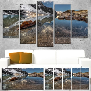 Designart 'Sapphire Mountain Lake View' Landscape Artwork Canvas Print