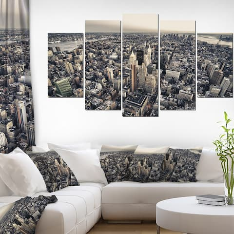Architecture and Colors of New York' Modern Cityscape Canvas Artwork - Grey