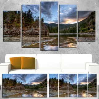 Designart 'Peaceful Evening at Mountain Creek' Landscape Artwork Canvas Print - Green (3 options available)