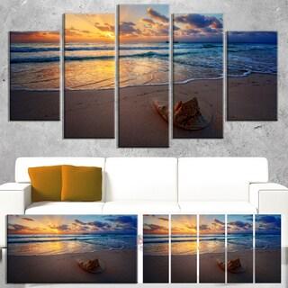 Designart 'Quiet Seashore during Sunset' Seashore Art Print on Canvas