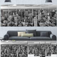 Designart 'Panoramic Aerial View of Manhattan' Modern Cityscape Canvas Artwork - Grey