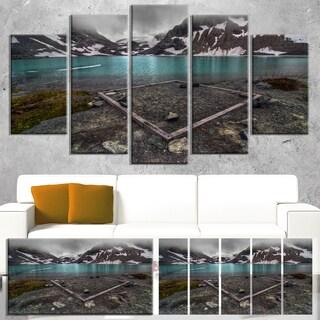 Designart 'Mountain Lake and Cloudy Sky' Landscape Artwork Canvas Print