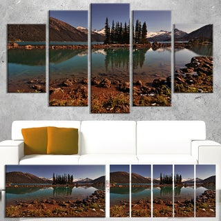 Designart 'Lake and Pine Trees in Evening' Extra Large Landscape Art Canvas - Brown