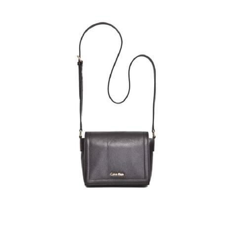 Calvin Klein Key Items Classic Pebble Black/Gold Faux Leather Crossbody Handbag - Black
