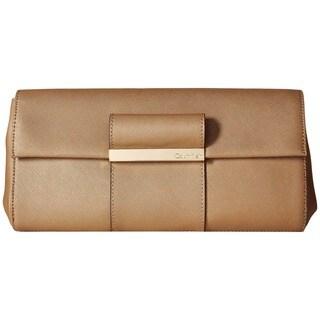Calvin Klein Gold Saffiano Leather Evening Clutch