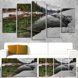 Designart 'Crystal Clear Lake with Pine Trees' Extra Large Landscape Art Canvas