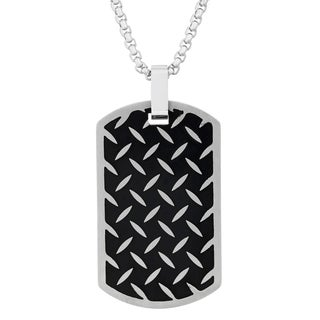 Two-tone Men's Stainless Steel Dog Tag Pendant Necklace