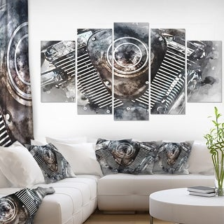 Motorcycle Engine Watercolor' Modern Canvas Wall Art Print