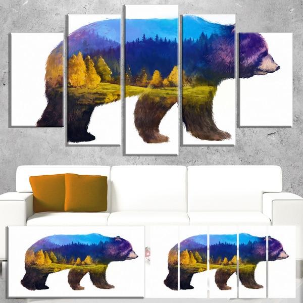 Designart 'Bear Double Exposure Illustration' Large Animal Canvas Wall Art Print
