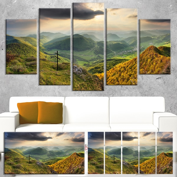 Designart 'Slovakia Spring Forest Mountain' Large Landscape Art Canvas Print