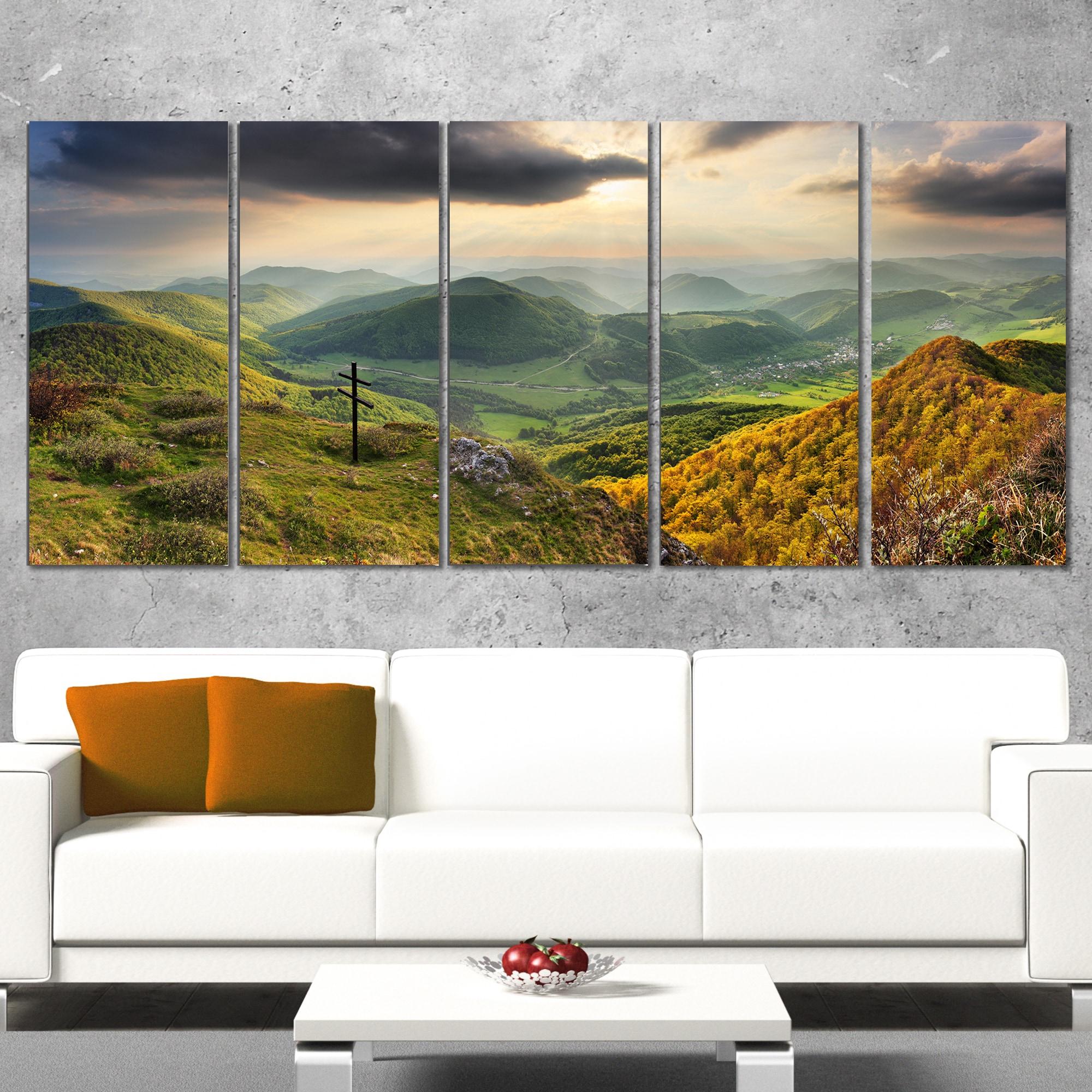 Designart Slovakia Spring Forest Mountain Large Landscape Art Canvas Print Green Overstock 13285827